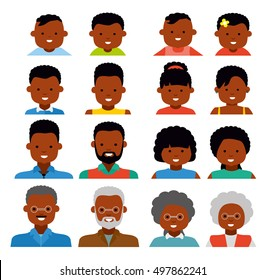 Avatar icons. African american ethnic people. People generations at different ages. Woman and man african american ethnic aging - baby, child, teenager, young, adult, old. Flat illustration