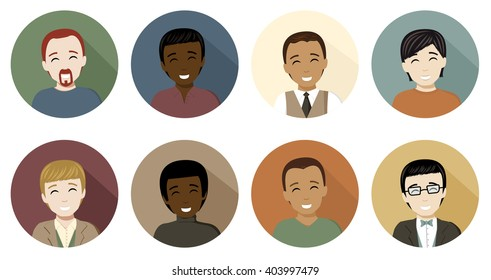 Avatar icons of men in a flat, long shadow style. Eight different men avatar icons in four skin tones and several different hair colors.