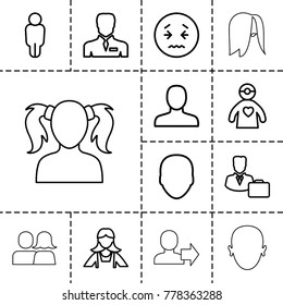 Avatar icons. set of 13 editable outline avatar icons such as face, man, maid, upset emot, user, businessman, doctor with medical reflector, male consultant   with case