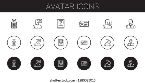 avatar icons set. Collection of avatar with id card, user, biography, man. Editable and scalable avatar icons.