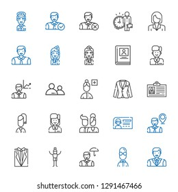 avatar icons set. Collection of avatar with man, user, employee, suit, id card, users, add user, biography, stewardess, businesswoman, pilot. Editable and scalable avatar icons.