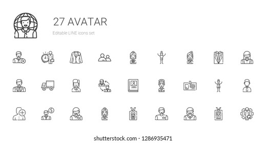 avatar icons set. Collection of avatar with woman, man, id card, stewardess, employee, user, pilot, biography, employees, side view, businessman. Editable and scalable avatar icons.