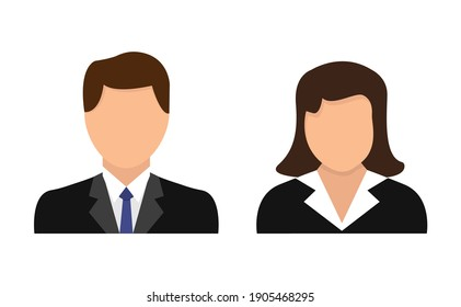 Avatar icons set for girls and boys. Profile of man and woman avatar. Flat design. Vector illustration