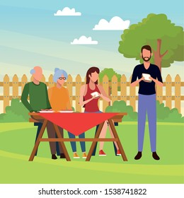 avatar man and family eating sandwiches and enjoying a picnic time outdoor, colorful design , vector illustration