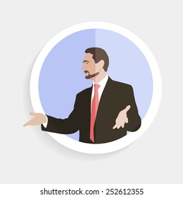 Avatar. Man with open honest gestures palms of the hands. Manager, coach, leader, chief, head, boss, speaker, orator. Speech, call. Infographics, web. Character. Image. Icon. Vector.