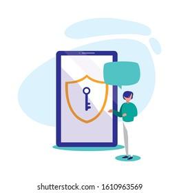 Avatar man with smartphone design, Digital technology communication social media internet web and device theme Vector illustration