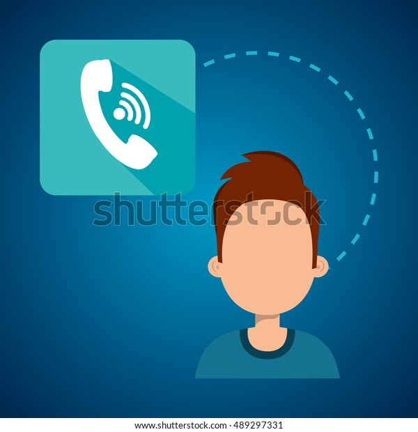 Avatar Man Telephone Headset Icon Stock Vector Royalty Free 489297331