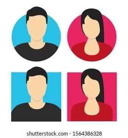 Avatar man and women. Flat vector illustration