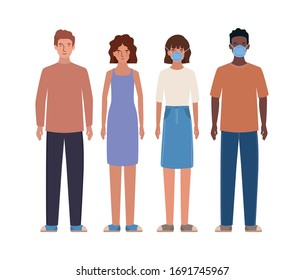 Avatar men and women with masks design of Medical care hygiene health emergency aid exam clinic and patient theme Vector illustration