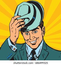 avatar portrait gentle man raises his hat. Pop art retro vector illustration