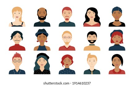 Avatar portraits. Business people diverse faces, man and woman persons, team group and employee, Vector isolated characters
