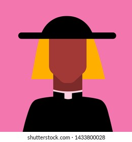 Avatar of priest in hat. Icon of religious man. Simple character. Vector illustration.