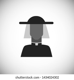 Avatar of priest in hat. Silhouette simple black icon of character. Vector illustration.