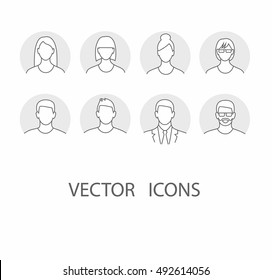 Avatar profile icon set including male and female.