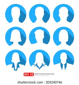 Avatar profile picture icon set including male, female & businesspeople in blue circle backgrounds