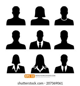 Avatar profile picture icon set including male, female & businesspeople on white background