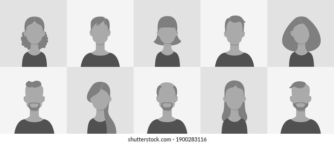 Avatar set. Collection of portraits of women and men in flat style. Vector illustration in gray tones.