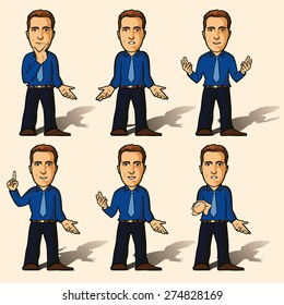 Avatar. Set of isolated business character poses - vector illustration.