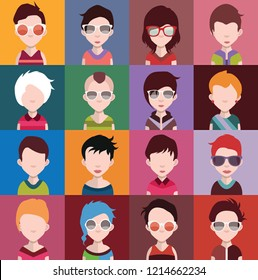 Avatar Set Vector. Man Woman Flat Cartoon Characters