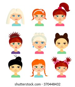 Avatar set with womens of different ethnicity origin. Funny faces. Girls of different nationalities. Women with different types of looks and hairstyles. Cartoon style. Vector design illustration