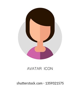 Avatar Simple Icon. Vector Illustration. Flat Graphic Style. Girl Face. Decorative Design for Web, Chat, Office