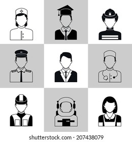 Avatar social network pictograms set of maid firefighter construction worker manager isolated vector illustration