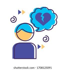 avatar with speech bubbles and heart break mental health flat style vector illustration design