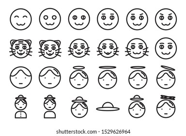 Avatar vector illustration icon set 1. Included the icons as face, user, man, woman, characters, style and more. - Vector