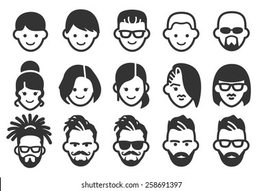 Avatar vector illustration icon set 2. Included the icons as face, user, man, woman, characters, style and more.