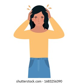 Avatar woman with headache design of Medical care hygiene health emergency aid exam clinic and patient theme Vector illustration