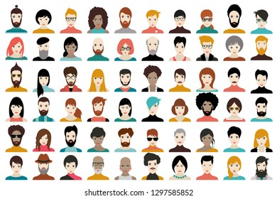 Avatar, woman, man heads. People vector shape heads different nationality in flat style.