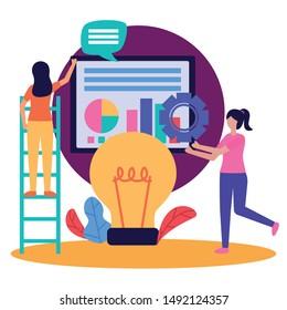 Avatar women design, Teamwork support collaborative cooperation work unity and idea theme Vector illustration