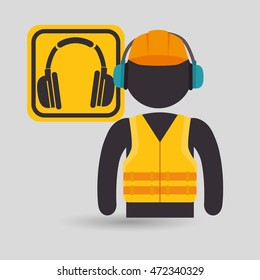 avatar worker with protection tool vector illustration design