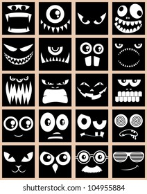 Avatars in Black: Set of 20 avatars in black and white.