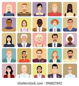 Avatars in cartoon style. Set of vector icons.
