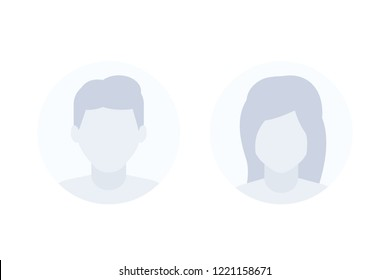 Avatars, default photo placeholders, man and female profile vector pictures
