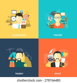 Avatars design concept set with businessman teacher tourist and artist flat icons isolated vector illustration