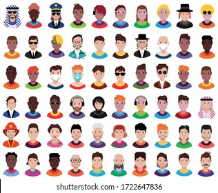 Avatars with different face and hairstyle.