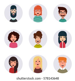 Avatars. Different human faces. Vector illustration. Simple design.