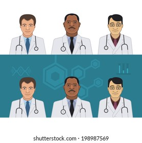 Avatars of doctors of different nationalities on light and dark background
