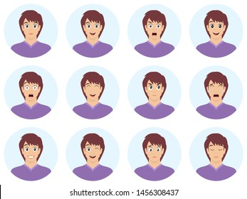 Avatars with emotions. Set of male emoji characters. Isolated boys avatars with different facial expressions. Vector illustration.