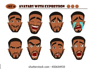 Avatars with expression. Black Man with 8 expression. Joy, laughter, sorrow, sadness, anger, rage, surprise, shock, crying