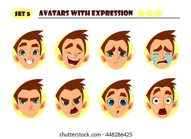 Avatars with expression. Boy with 8 expression. Joy, laughter, sorrow, sadness, anger, rage, surprise, shock, crying
