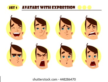 Avatars with expression. Man with 8 expression. Joy, laughter, sorrow, sadness, anger, rage, surprise, shock, crying