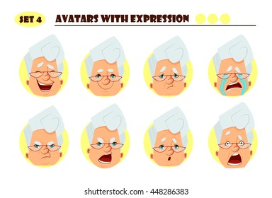 Avatars with expression. Old woman with 8 expression. Joy, laughter, sorrow, sadness, anger, rage, surprise, shock, crying
