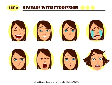 Avatars with expression. Woman  with 8 expression. Joy, laughter, sorrow, sadness, anger, rage, surprise, shock, crying