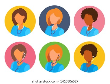 Avatars of female doctors clip art design. Women with short hair without faces. Medical gown, stethoscope. Vector cartoon flat style faceless portraits on a colored circle background.