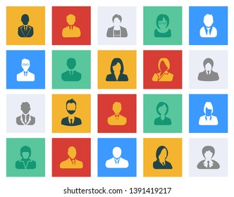 Avatars Flat Icons Set - Colorful vector icons people
