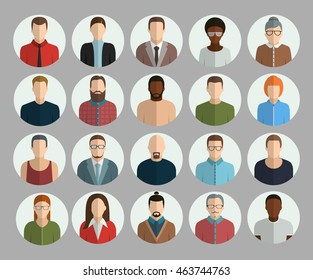 Avatars flat vector set icons in circle on grey background