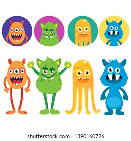 Avatars of funny monsters - vector